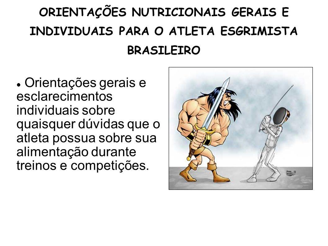 ORIENTAÇÕES NUTRICIONAIS GERAIS E INDIVIDUAIS PARA O ATLETA ESGRIMISTA BRASILEIRO