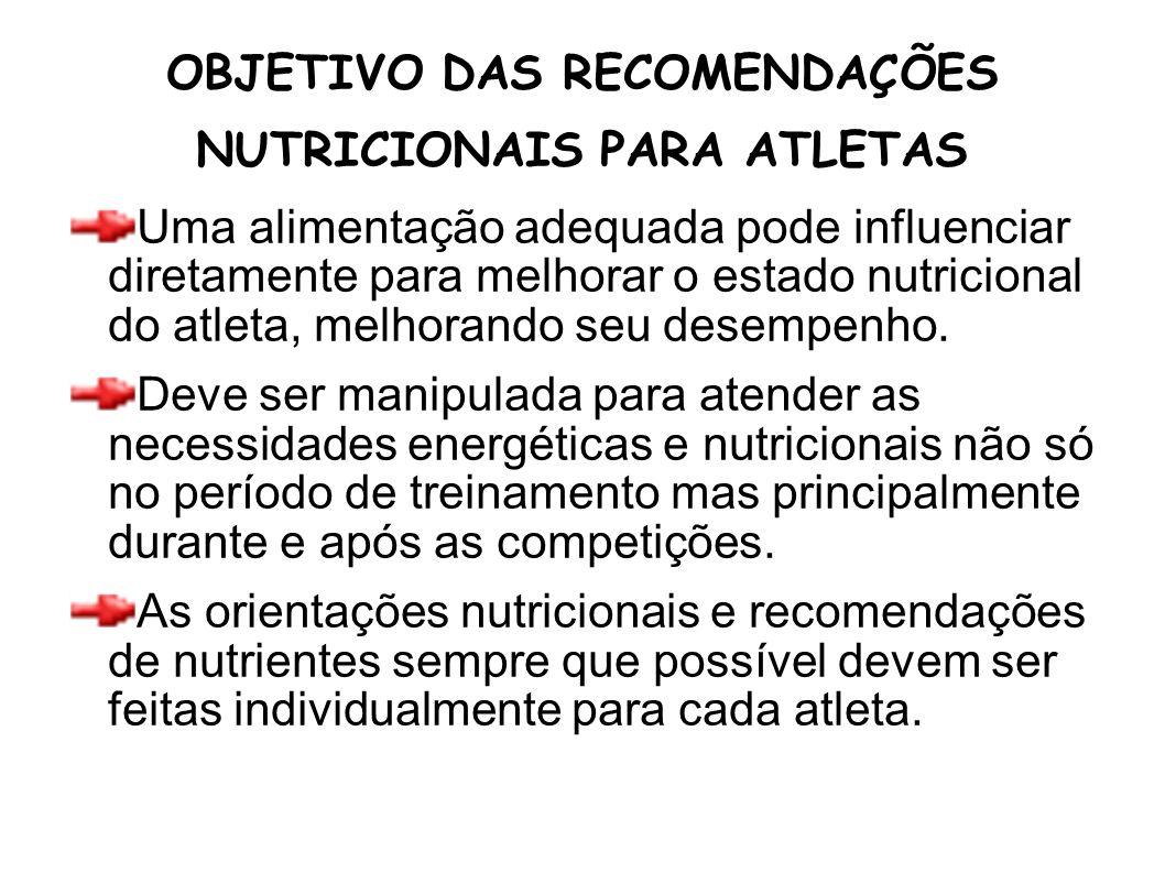 OBJETIVO DAS RECOMENDAÇÕES NUTRICIONAIS PARA ATLETAS