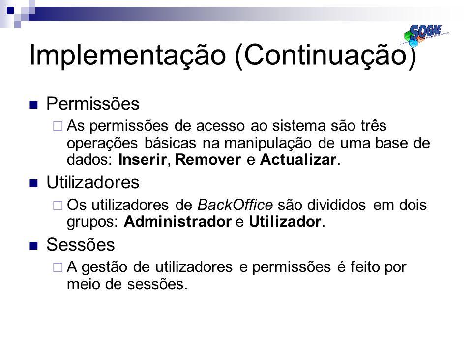 Implementação (Continuação)