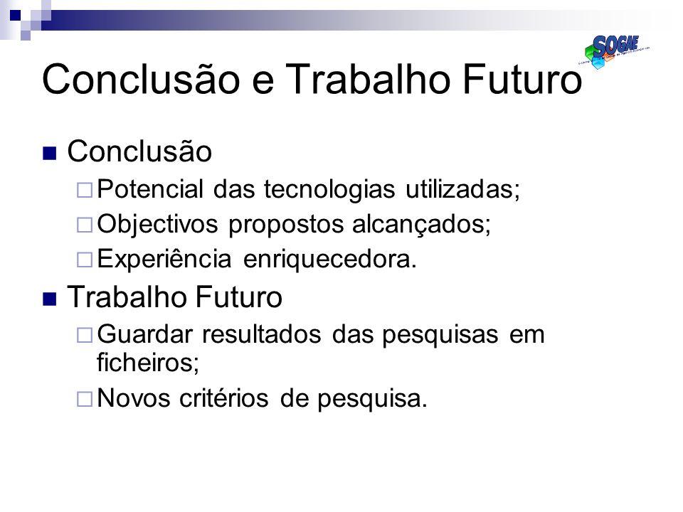 Conclusão e Trabalho Futuro