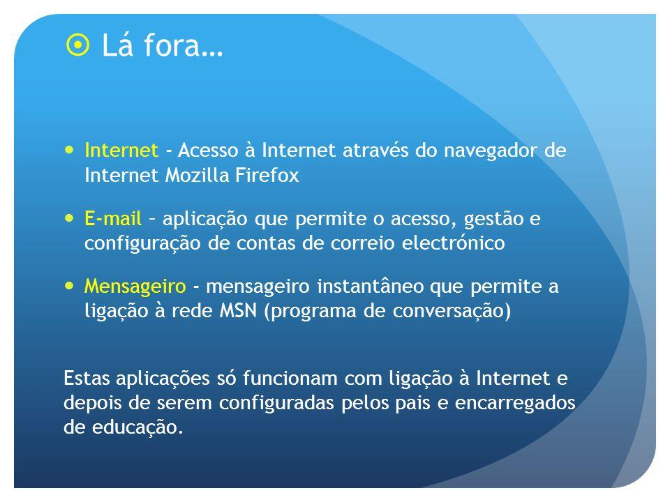 Lá fora… Internet - Acesso à Internet através do navegador de Internet Mozilla Firefox.