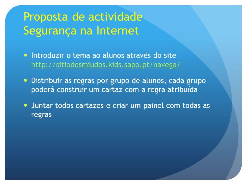 Proposta de actividade Segurança na Internet