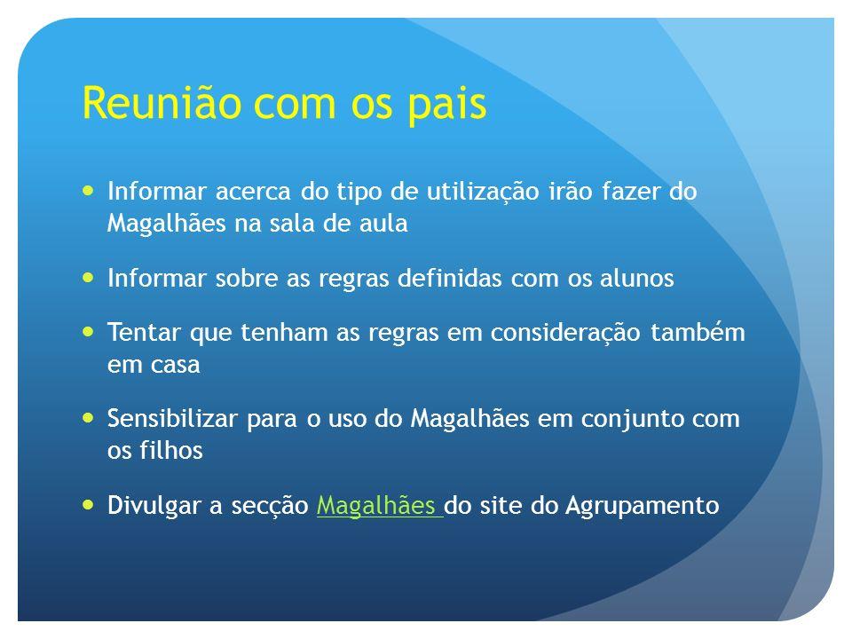 Reunião com os pais Informar acerca do tipo de utilização irão fazer do Magalhães na sala de aula.