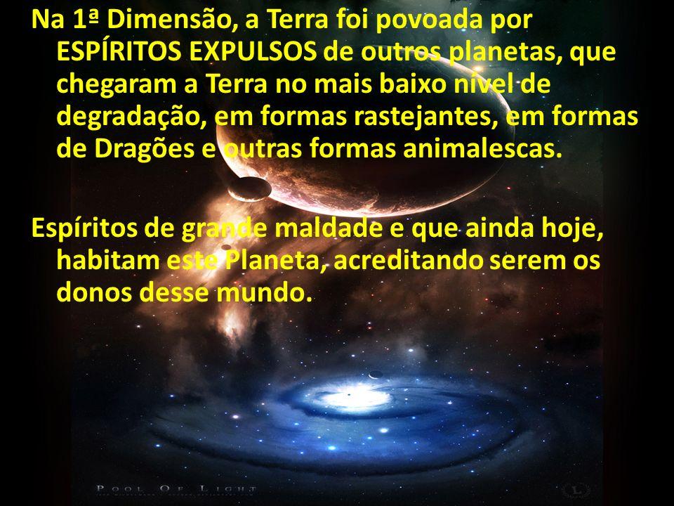 Na 1ª Dimensão, a Terra foi povoada por ESPÍRITOS EXPULSOS de outros planetas, que chegaram a Terra no mais baixo nível de degradação, em formas rastejantes, em formas de Dragões e outras formas animalescas.