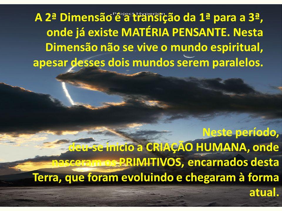 A 2ª Dimensão é a transição da 1ª para a 3ª, onde já existe MATÉRIA PENSANTE. Nesta Dimensão não se vive o mundo espiritual, apesar desses dois mundos serem paralelos.