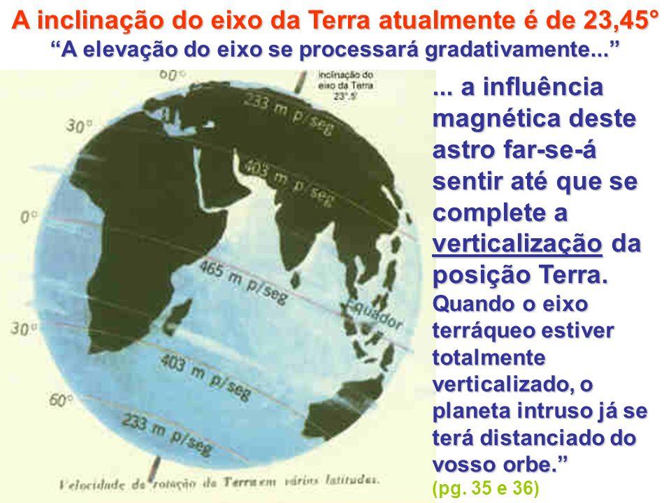 A inclinação do eixo da Terra atualmente é de 23,45° A elevação do eixo se processará gradativamente...