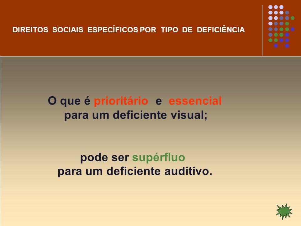O que é prioritário e essencial para um deficiente visual;
