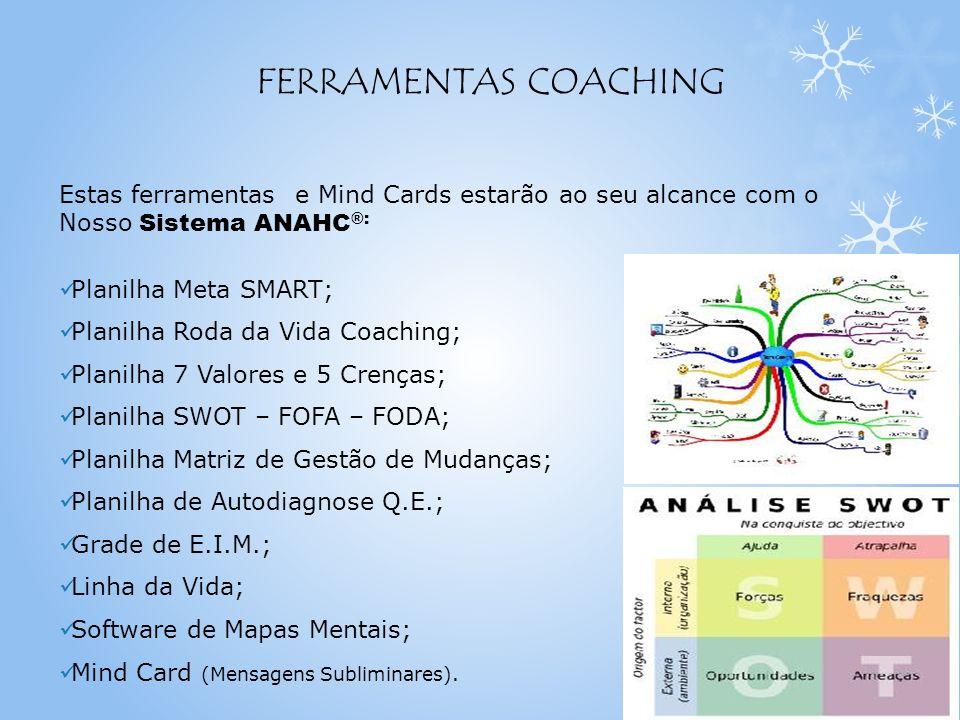 FERRAMENTAS COACHING Estas ferramentas e Mind Cards estarão ao seu alcance com o Nosso Sistema ANAHC®: