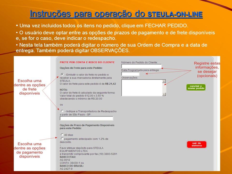 Instruções para operação do STEULA-ON-LINE