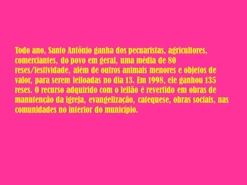 Todo ano, Santo Antônio ganha dos pecuaristas, agricultores, comerciantes, do povo em geral, uma média de 80 reses/festividade, além de outros animais menores e objetos de valor, para serem leiloadas no dia 13.