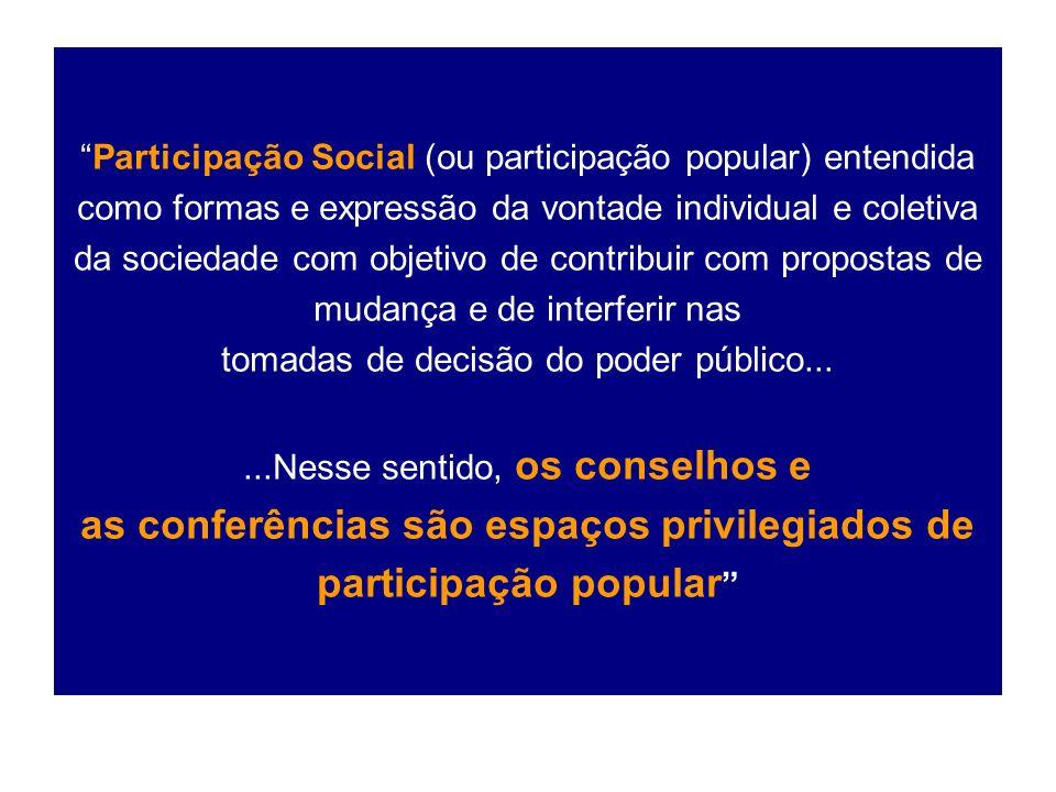 Participação Social (ou participação popular) entendida como formas e expressão da vontade individual e coletiva da sociedade com objetivo de contribuir com propostas de mudança e de interferir nas tomadas de decisão do poder público...