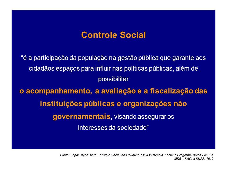 Controle Social é a participação da população na gestão pública que garante aos cidadãos espaços para influir nas políticas públicas, além de possibilitar o acompanhamento, a avaliação e a fiscalização das instituições públicas e organizações não governamentais, visando assegurar os interesses da sociedade