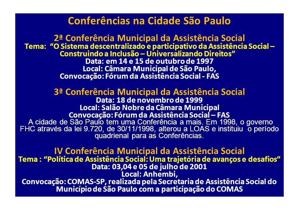 Conferências na Cidade São Paulo 2ª Conferência Municipal da Assistência Social Tema: O Sistema descentralizado e participativo da Assistência Social – Construindo a Inclusão – Universalizando Direitos Data: em 14 e 15 de outubro de 1997 Local: Câmara Municipal de São Paulo, Convocação: Fórum da Assistência Social - FAS 3ª Conferência Municipal da Assistência Social Data: 18 de novembro de 1999 Local: Salão Nobre da Câmara Municipal Convocação: Fórum da Assistência Social – FAS A cidade de São Paulo tem uma Conferência a mais.