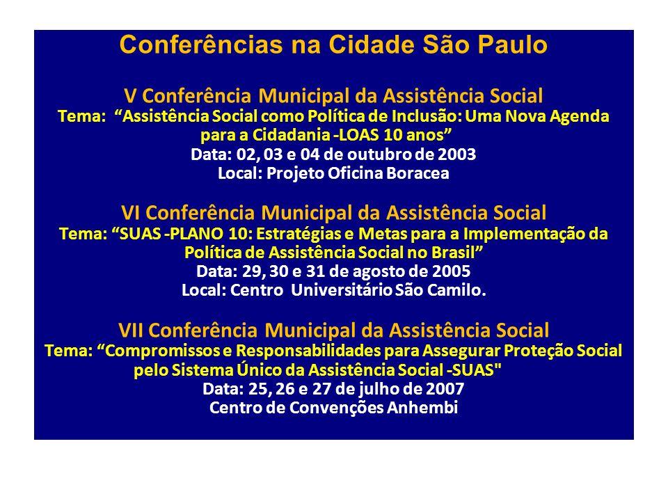 Conferências na Cidade São Paulo V Conferência Municipal da Assistência Social Tema: Assistência Social como Política de Inclusão: Uma Nova Agenda para a Cidadania -LOAS 10 anos Data: 02, 03 e 04 de outubro de 2003 Local: Projeto Oficina Boracea VI Conferência Municipal da Assistência Social Tema: SUAS -PLANO 10: Estratégias e Metas para a Implementação da Política de Assistência Social no Brasil Data: 29, 30 e 31 de agosto de 2005 Local: Centro Universitário São Camilo.