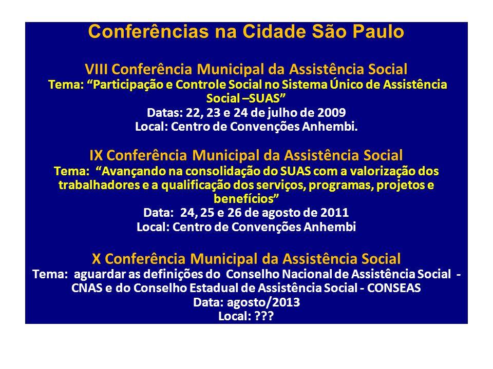 Conferências na Cidade São Paulo VIII Conferência Municipal da Assistência Social Tema: Participação e Controle Social no Sistema Único de Assistência Social –SUAS Datas: 22, 23 e 24 de julho de 2009 Local: Centro de Convenções Anhembi.
