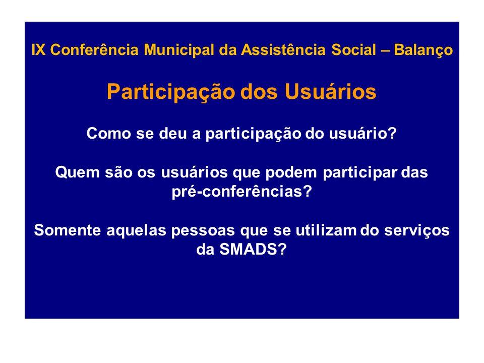 IX Conferência Municipal da Assistência Social – Balanço Participação dos Usuários Como se deu a participação do usuário.
