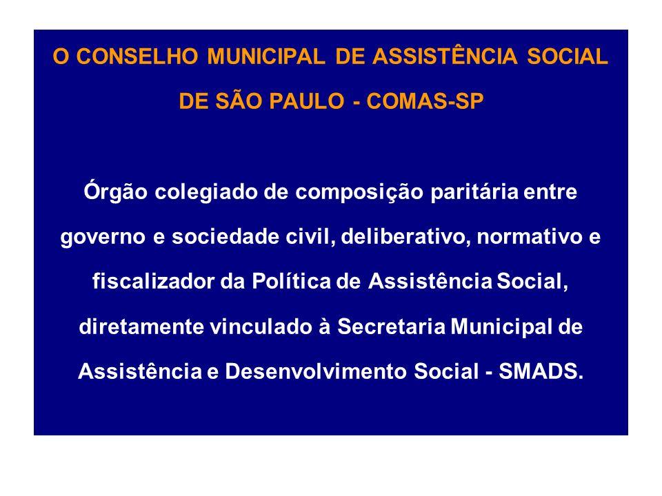 O CONSELHO MUNICIPAL DE ASSISTÊNCIA SOCIAL DE SÃO PAULO - COMAS-SP Órgão colegiado de composição paritária entre governo e sociedade civil, deliberativo, normativo e fiscalizador da Política de Assistência Social, diretamente vinculado à Secretaria Municipal de Assistência e Desenvolvimento Social - SMADS.