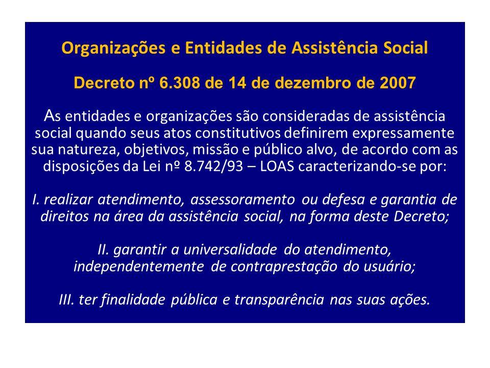 Organizações e Entidades de Assistência Social Decreto nº 6
