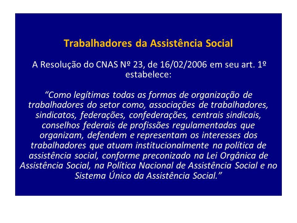 Trabalhadores da Assistência Social A Resolução do CNAS Nº 23, de 16/02/2006 em seu art.