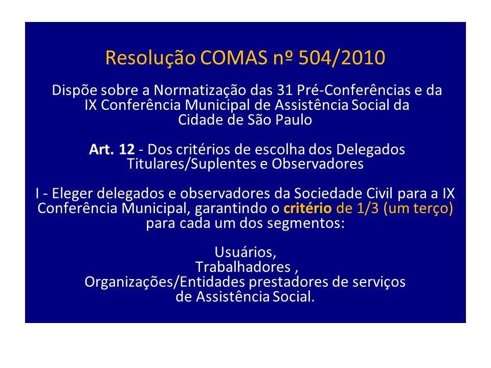 Resolução COMAS nº 504/2010 Dispõe sobre a Normatização das 31 Pré-Conferências e da IX Conferência Municipal de Assistência Social da Cidade de São Paulo Art.