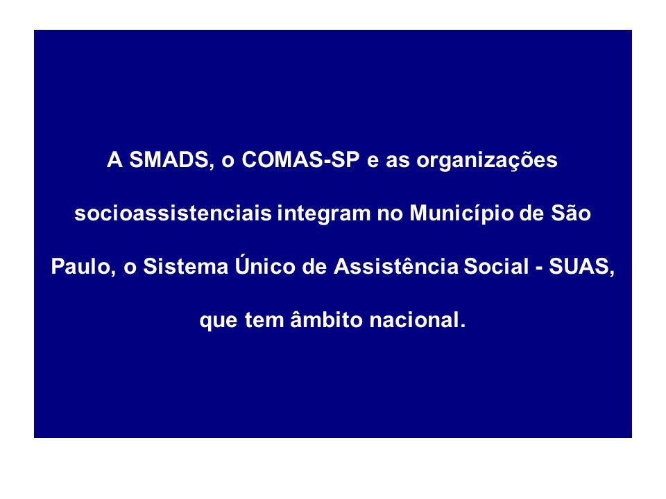 A SMADS, o COMAS-SP e as organizações socioassistenciais integram no Município de São Paulo, o Sistema Único de Assistência Social - SUAS, que tem âmbito nacional.