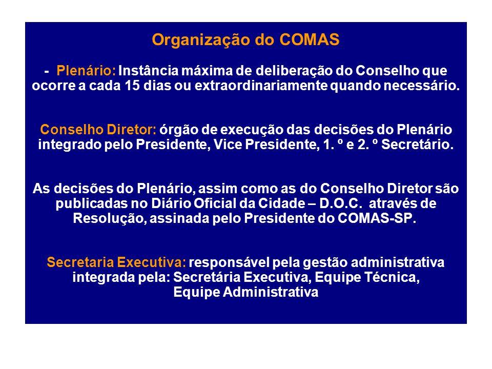 Organização do COMAS - Plenário: Instância máxima de deliberação do Conselho que ocorre a cada 15 dias ou extraordinariamente quando necessário.