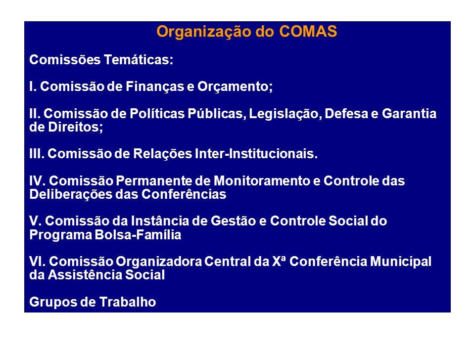 Organização do COMAS Comissões Temáticas: I
