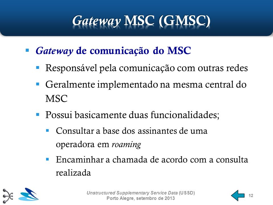 Gateway MSC (GMSC) Gateway de comunicação do MSC