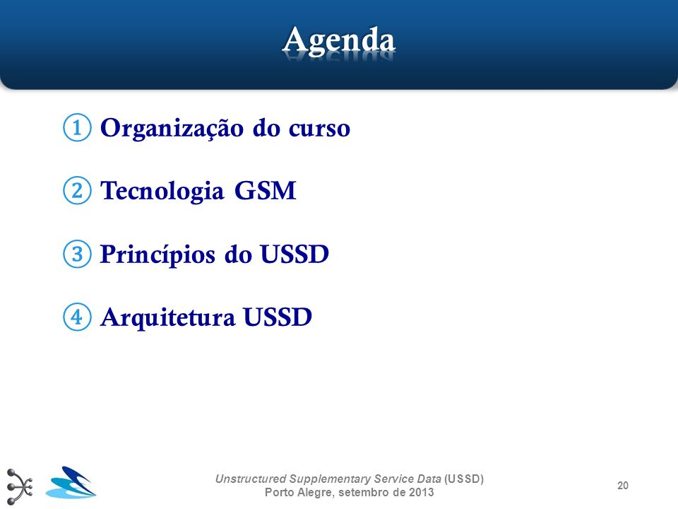 Agenda Organização do curso Tecnologia GSM Princípios do USSD