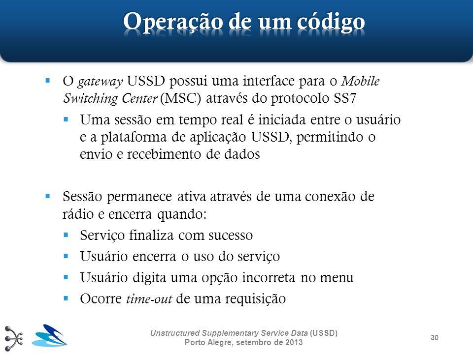 Operação de um código O gateway USSD possui uma interface para o Mobile Switching Center (MSC) através do protocolo SS7.