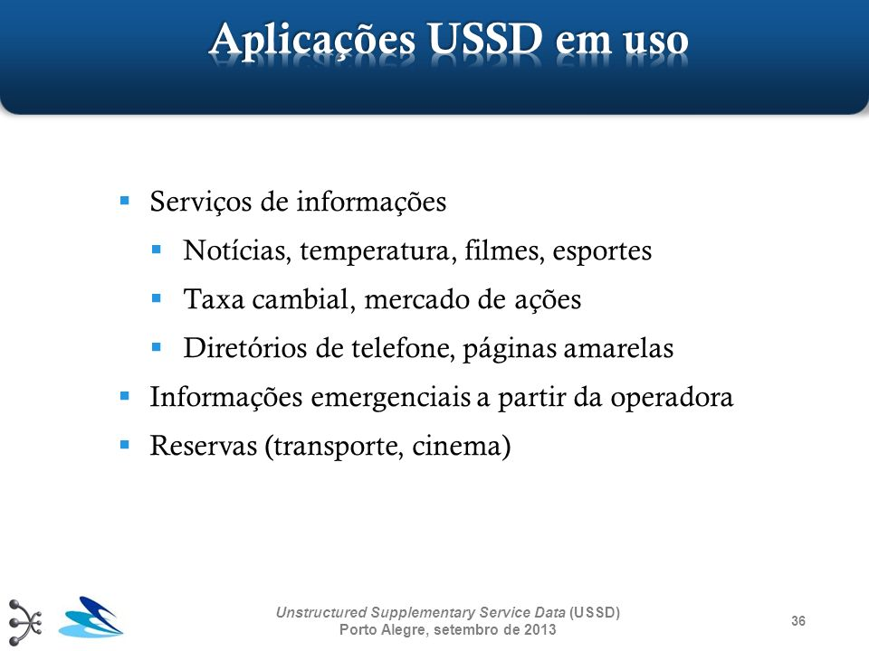 Aplicações USSD em uso Serviços de informações