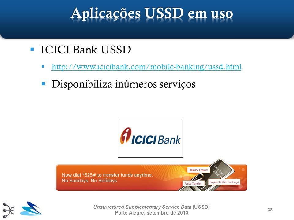 Aplicações USSD em uso ICICI Bank USSD Disponibiliza inúmeros serviços