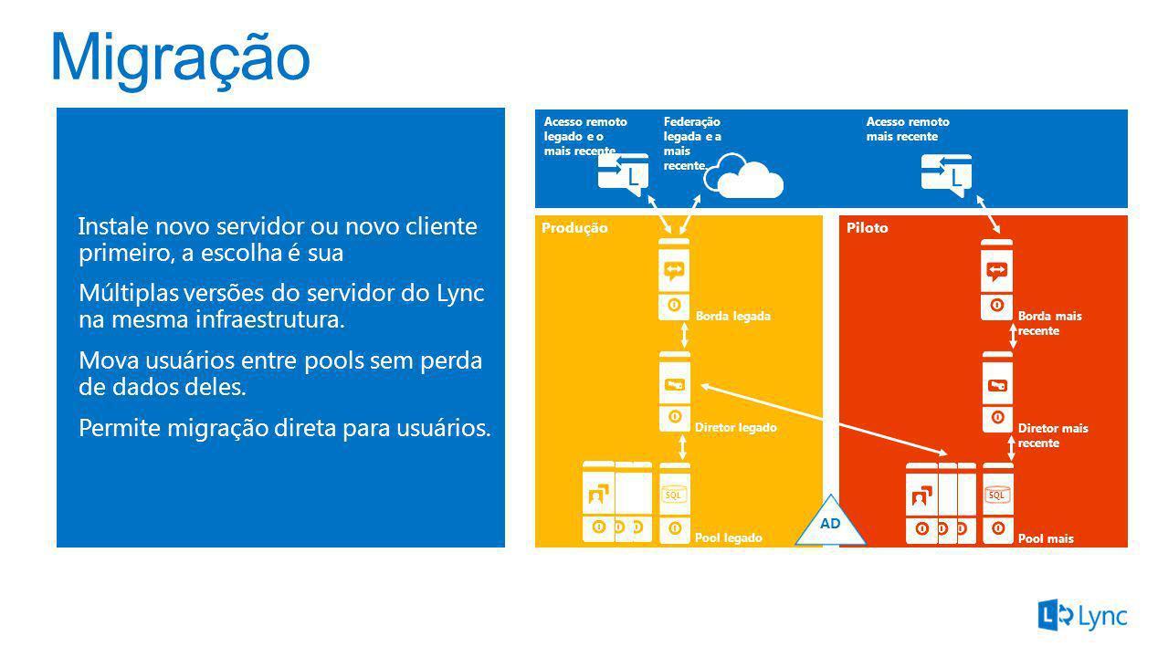 Migração Instale novo servidor ou novo cliente primeiro, a escolha é sua. Múltiplas versões do servidor do Lync na mesma infraestrutura.