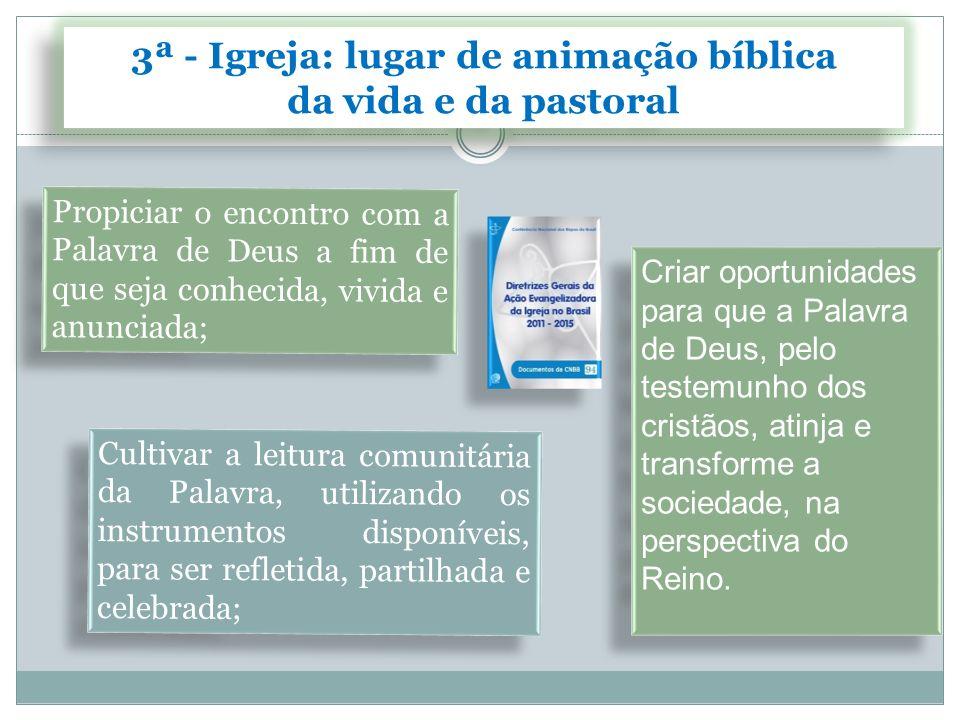3ª - Igreja: lugar de animação bíblica
