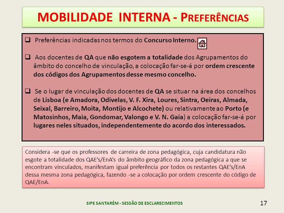 MOBILIDADE INTERNA - Preferências