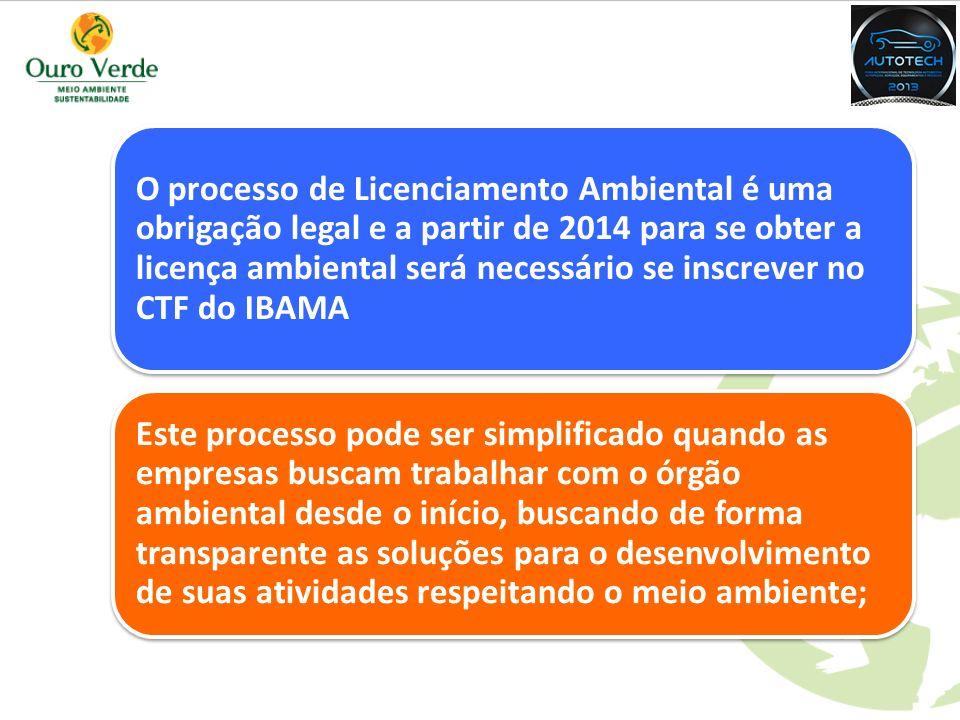O processo de Licenciamento Ambiental é uma obrigação legal e a partir de 2014 para se obter a licença ambiental será necessário se inscrever no CTF do IBAMA