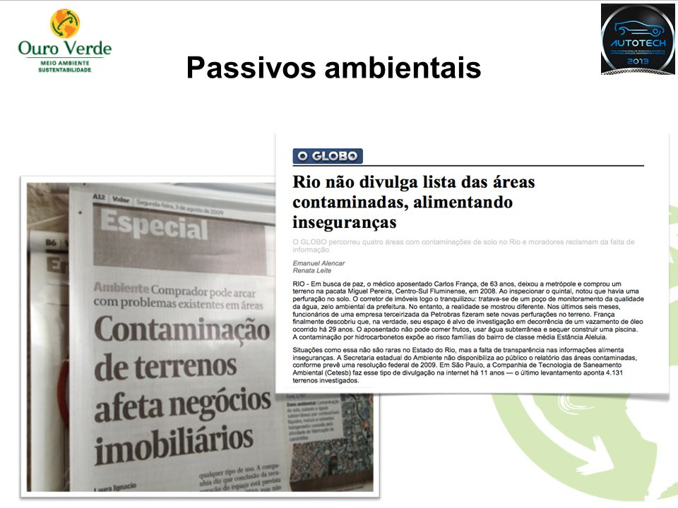 Passivos ambientais EXEMPLIFICAR NA PRÁTICA DA DISTRIBUIÇÃO DE AUTOMÓVEIS