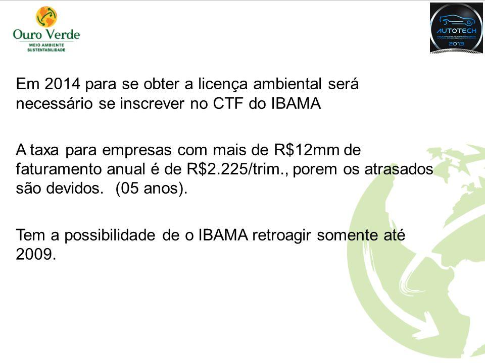 AGENDA Em 2014 para se obter a licença ambiental será necessário se inscrever no CTF do IBAMA.