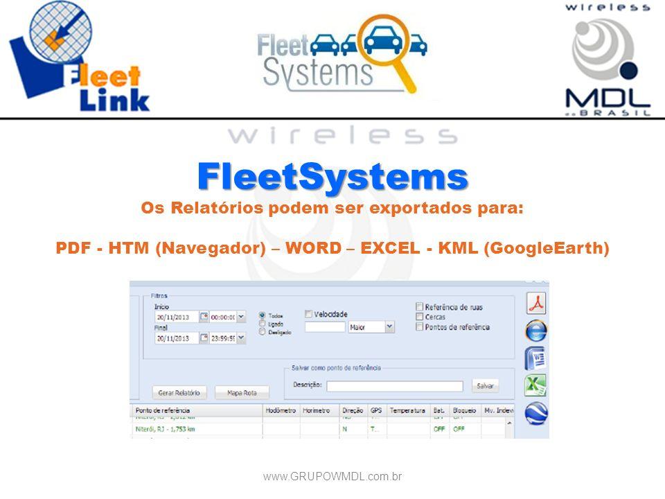 FleetSystems Os Relatórios podem ser exportados para: