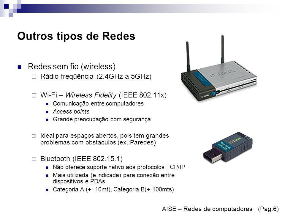 Outros tipos de Redes Redes sem fio (wireless)