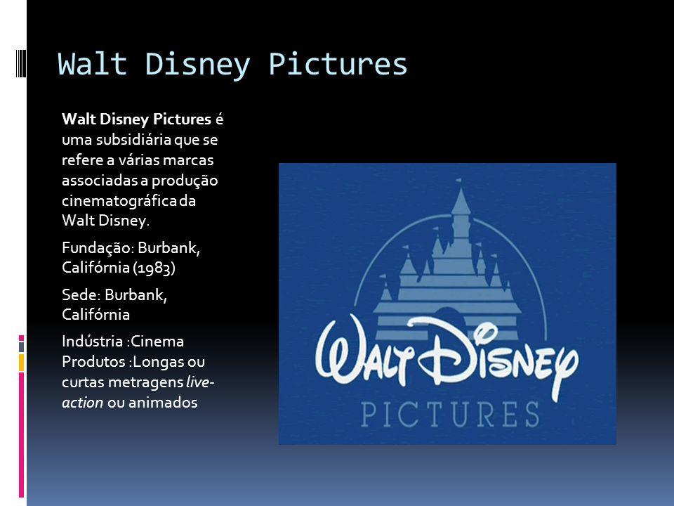 Walt Disney Pictures Walt Disney Pictures é uma subsidiária que se refere a várias marcas associadas a produção cinematográfica da Walt Disney.