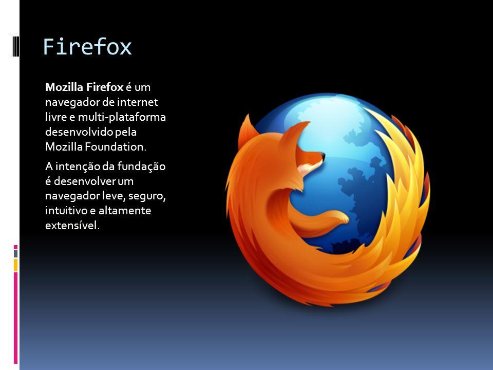 Firefox Mozilla Firefox é um navegador de internet livre e multi-plataforma desenvolvido pela Mozilla Foundation.