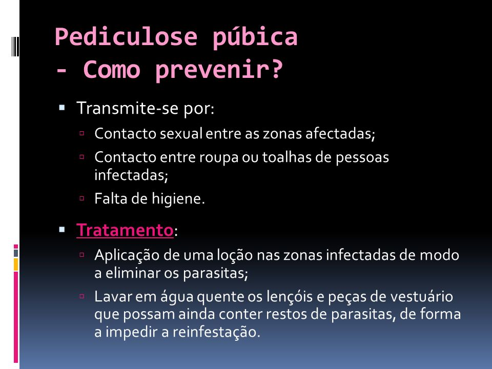 Pediculose púbica - Como prevenir
