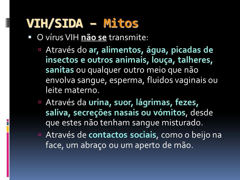 VIH/SIDA – Mitos O vírus VIH não se transmite: