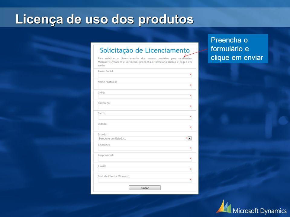 Licença de uso dos produtos