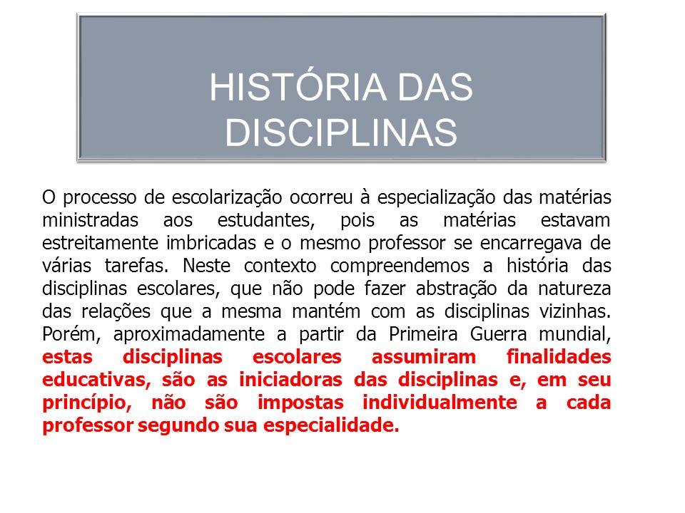 HISTÓRIA DAS DISCIPLINAS
