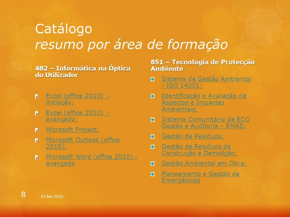 Catálogo resumo por área de formação