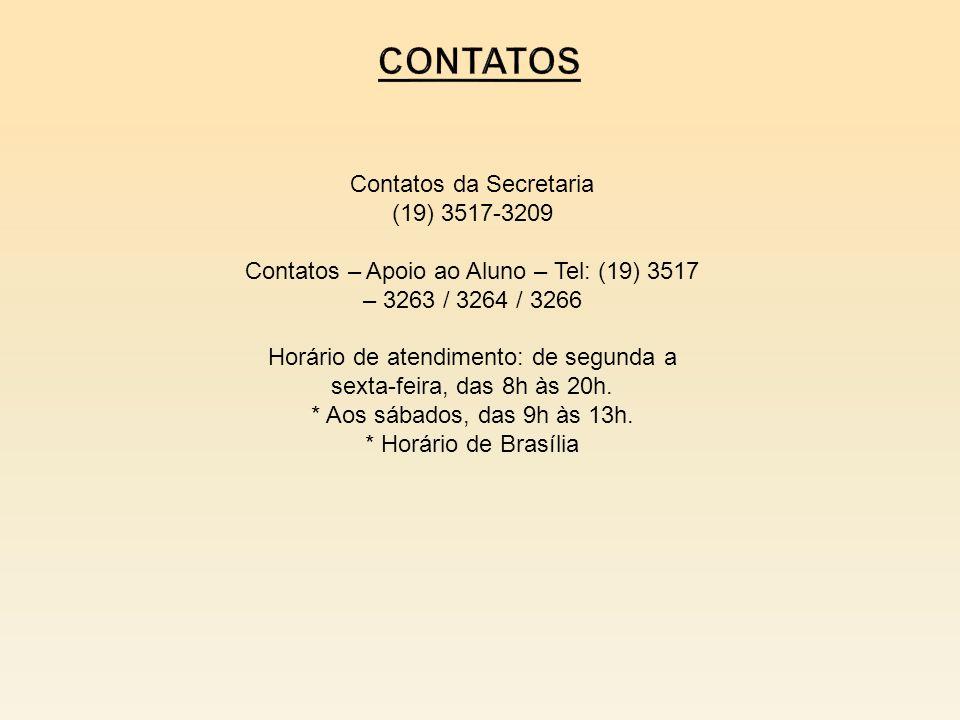 Contatos Contatos da Secretaria (19) 3517-3209