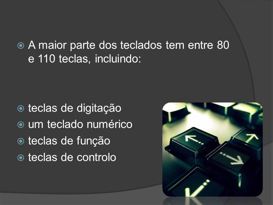 A maior parte dos teclados tem entre 80 e 110 teclas, incluindo: