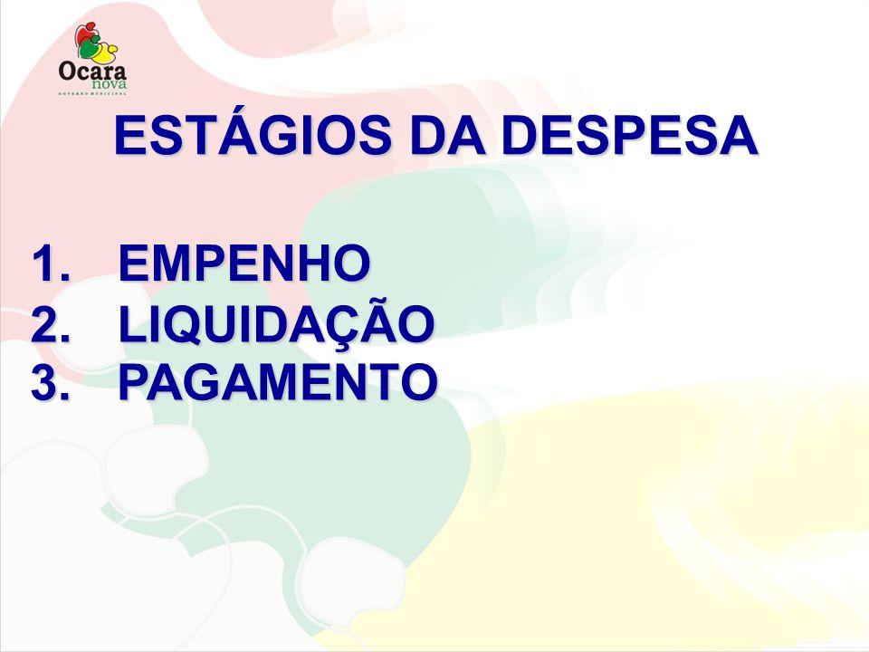 ESTÁGIOS DA DESPESA EMPENHO LIQUIDAÇÃO PAGAMENTO